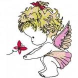 """Siuvinėtas rankšluostis """"Angeliukas su drugeliu"""""""