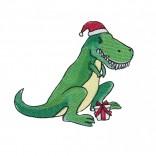 """Siuvinėtas rankšluostis """"Kalėdinis dinozauras"""""""